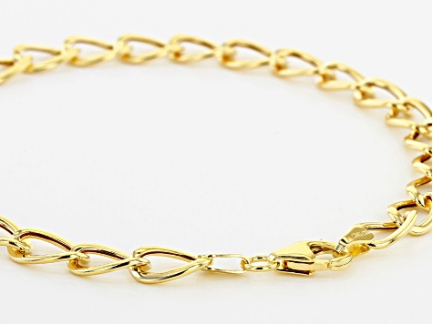 10k Yellow Gold Polished Oval Curb 8 inch Bracelet