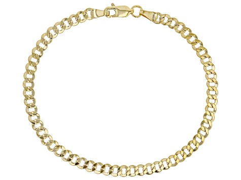 10K Yellow Gold Faceted Curb Bracelet 8 Inch