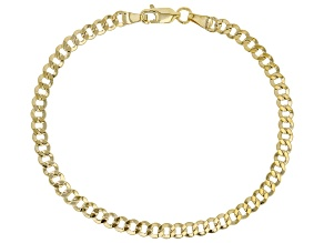 10K Yellow Gold Faceted Curb 8 Inch Bracelet