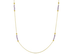 10K Yellow Gold Diamond Cut Rolo Necklace With Purple Cubic Zirconia 2.00ctw