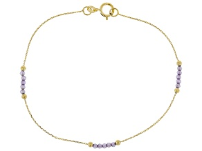 10K Yellow Gold Diamond Cut Rolo Bracelet with  Purple Cubic Zirconia .75ctw