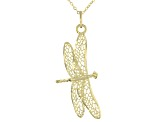 10K Yellow Gold 20 Inch Dragonfly Motif Pendant Necklace