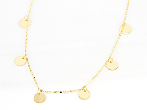 10K Yellow Gold Circle Disc 18 Inch Necklace