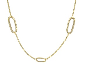 14K Gold Elongated Station Necklace 20 Inch