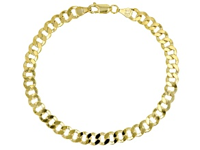 10K Solid Yellow Gold Faceted Curb Bracelet
