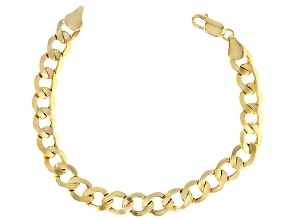 10K YELLOW GOLD BEVELED CURB BRACELET