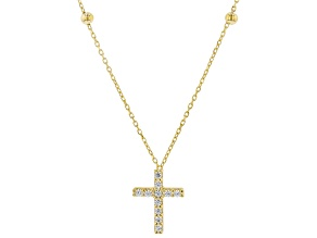10K Yellow Gold Bella Luce™ Beaded Cross Necklace 18