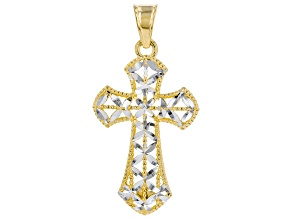 10K Solid Yellow Gold Cross Mirror Pendant