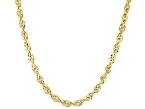 10K Yellow Gold Mirror Faceted Rope Necklace 20""