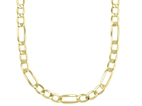 10K Yellow Gold Figaro Beveled Necklace