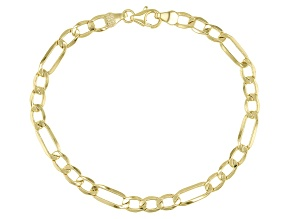 10K Yellow Gold Figaro Beveled Bracelet