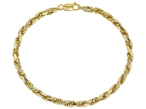 10KT Yellow Gold Diamond Cut Rope Bracelet 8 inches.