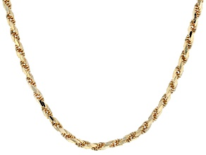 10K Yellow Gold Diamond Cut Rope Necklace 24 Inches