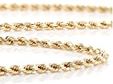 10K Yellow Gold Diamond Cut 3mm Rope Necklace.