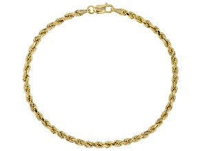 10KT Yellow Gold Diamond Cut Rope Bracelet