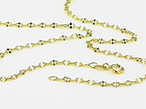 10K Yellow Gold Concave Anchor Mirror Necklace 20