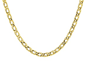 10K Yellow Gold Double Marquise Curb Necklace 20 inches