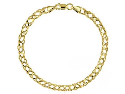 10K Yellow Gold Double Marquise Curb Bracelet