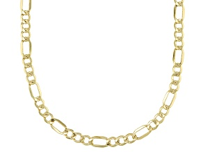 10K Figaro Diamond Cut Necklace 20