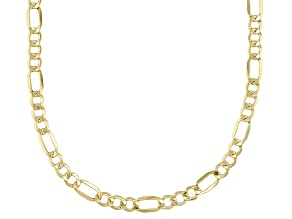10K Figaro Diamond Cut Necklace