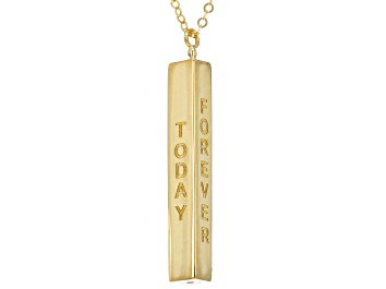 Picture of 10k Yellow Gold Vertical Bar Script 18 Inch Plus 2 Inch Extender Necklace