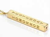 10k Yellow Gold Vertical Bar Script 18 Inch Plus 2 Inch Extender Necklace