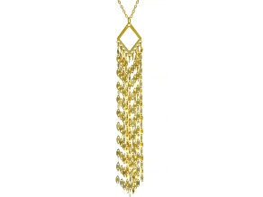 10KT Yellow Gold Mirror Tassel Necklace 20