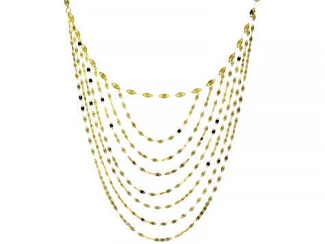 10KT Yellow Gold Multi-Strand Valentino Necklace  18""