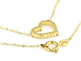 10K Yellow Gold and 1.25 CTW Bella Luce® Diamond Simulant Heart Necklace 18 Inches