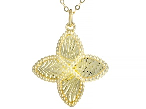 10KT Yellow Gold Clover Necklace 20""