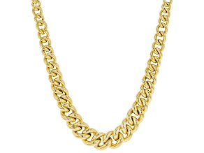 10K Yellow Gold Graduated Curb Necklace 18""