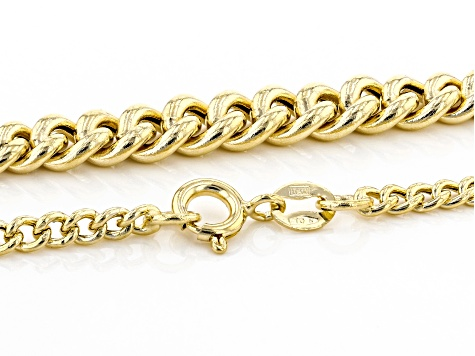 10K Yellow Gold Graduated Curb Necklace 20