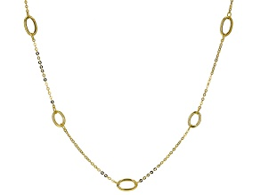 10K Yellow Gold Elongated Station Necklace 20
