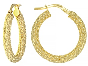10K Yellow Gold 15MM Hammered Sparkle Hoop Earrings