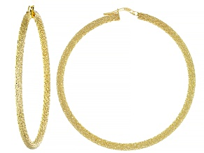 10K Yellow Gold 50MM Hammered Hoop Earrings