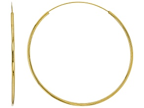 10K Yellow Gold 60MM Polished Endless Hoop Earrings