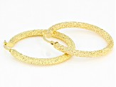 10K Yellow Gold 25MM Hammered Sparkle Hoop Earrings