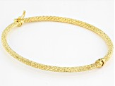 10K Yellow Gold Hammered Sparkle Bangle 7.25""