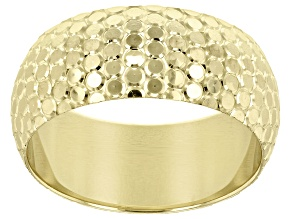 10K Yellow Gold 8MM Snakeskin Diamond Cut Band Ring