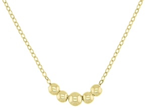 10k Yellow Gold 1mm Graduated Bead Station 18 Inch Necklace