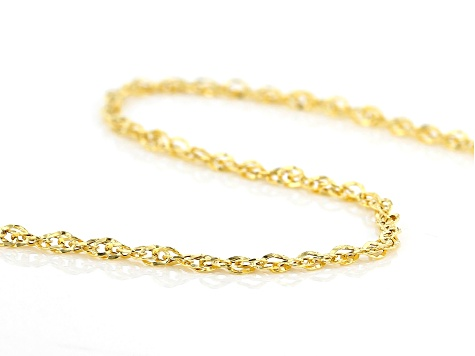 10k Yellow Gold Singapore Necklace 24 inch