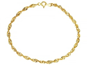 10k Yellow Gold 3.2mm Glitter Rope Bracelet