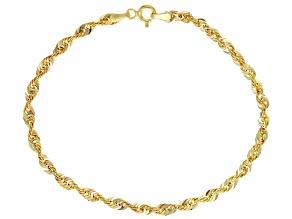 10K Yellow Gold 3.2MM Diamond-Cut Rope Link Bracelet