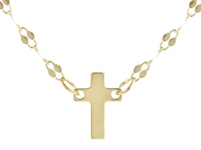 10K Yellow Gold 18 Inch With 2 Inch Extender Cross Necklace