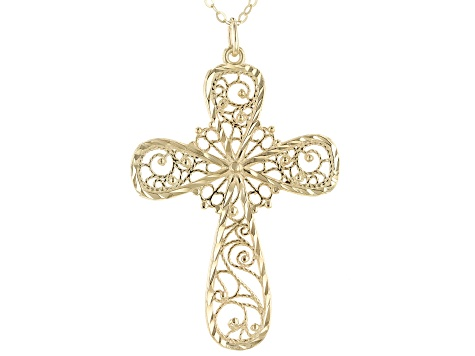 10K Yellow Gold Filigree Cross Necklace