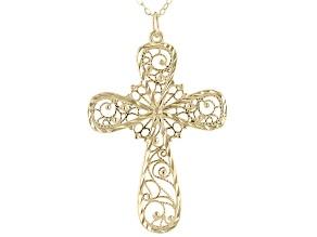 10K Yellow Gold Filigree Cross Necklace