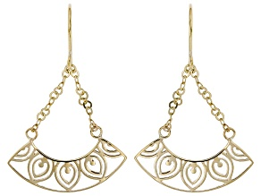 10K Yellow Gold Dangling Open Design Earrings