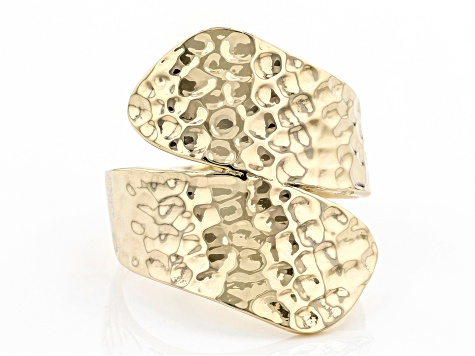10k Yellow Gold Hammered Bypass Ring