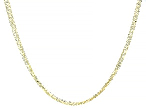 10k Yellow Gold Multi-Row Brillo Necklace 18 Inches