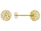 10K Yellow Gold 8MM Diamond Cut Stud Earrings. Earrings have a push back posts. Made in Turkey.
